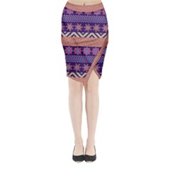 Colorful Winter Pattern Midi Wrap Pencil Skirt by DanaeStudio