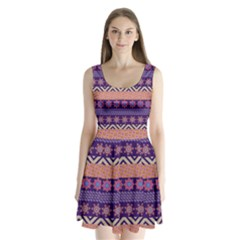 Colorful Winter Pattern Split Back Mini Dress  by DanaeStudio
