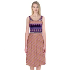 Colorful Winter Pattern Midi Sleeveless Dress by DanaeStudio