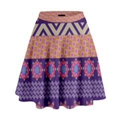 Colorful Winter Pattern High Waist Skirt by DanaeStudio