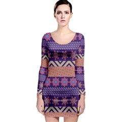 Colorful Winter Pattern Long Sleeve Bodycon Dress by DanaeStudio