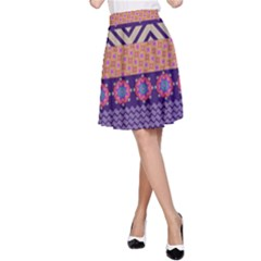 Colorful Winter Pattern A Line Skirt by DanaeStudio