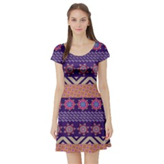 Colorful Winter Pattern Short Sleeve Skater Dress