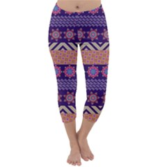 Colorful Winter Pattern Capri Winter Leggings  by DanaeStudio