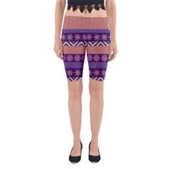 Colorful Winter Pattern Yoga Cropped Leggings by DanaeStudio