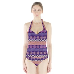Colorful Tribal Pattern Halter Swimsuit by DanaeStudio