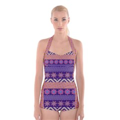 Colorful Tribal Pattern Boyleg Halter Swimsuit
