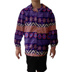 Colorful Winter Pattern Hooded Wind Breaker (kids) by DanaeStudio