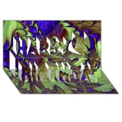 Freaky Friday, Blue Green Happy Birthday 3d Greeting Card (8x4) by Fractalworld