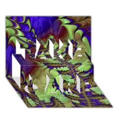 Freaky Friday, Blue Green Take Care 3d Greeting Card (7x5) by Fractalworld