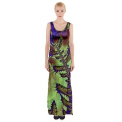 Freaky Friday, Blue Green Maxi Thigh Split Dress by Fractalworld