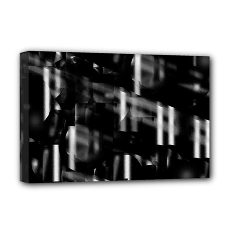 Black And White Neon City Deluxe Canvas 18  X 12   by Valentinaart