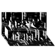 Black And White Neon City Best Friends 3d Greeting Card (8x4)