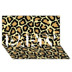 Pink Leopard Party 3d Greeting Card (8x4)