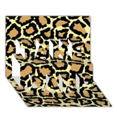 Pink Leopard Take Care 3d Greeting Card (7x5)