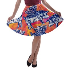 Little Flying Pigs A Line Skater Skirt by DanaeStudio