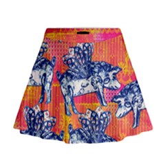 Little Flying Pigs Mini Flare Skirt by DanaeStudio