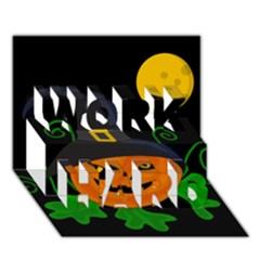 Halloween Witch Pumpkin Work Hard 3d Greeting Card (7x5) by Valentinaart