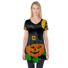 Halloween Witch Pumpkin Short Sleeve Tunic  by Valentinaart