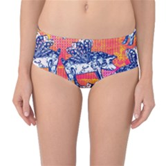 Little Flying Pigs Mid Waist Bikini Bottoms