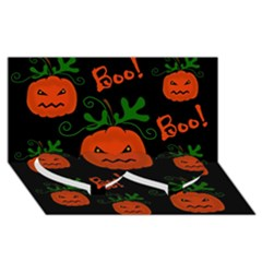 Halloween Pumpkin Pattern Twin Heart Bottom 3d Greeting Card (8x4)