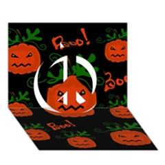 Halloween Pumpkin Pattern Peace Sign 3d Greeting Card (7x5) by Valentinaart