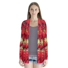 Red Fruits Drape Collar Cardigan by AnjaniArt