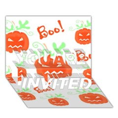 Halloween Pumpkins Pattern You Are Invited 3d Greeting Card (7x5) by Valentinaart