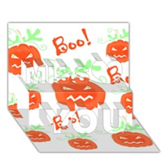 Halloween Pumpkins Pattern Miss You 3d Greeting Card (7x5)