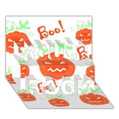 Halloween Pumpkins Pattern You Rock 3d Greeting Card (7x5) by Valentinaart