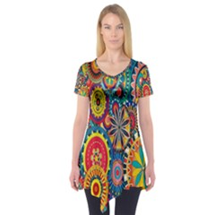 Tumblr Static Colorful Short Sleeve Tunic
