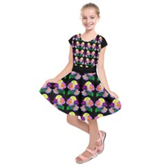 Roses On Black Kids  Short Sleeve Dress by Costasonlineshop