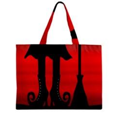Halloween Black Witch Zipper Mini Tote Bag by Valentinaart