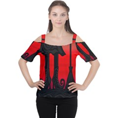Halloween Black Witch Women s Cutout Shoulder Tee by Valentinaart