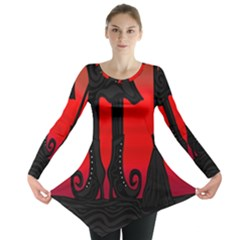 Halloween Black Witch Long Sleeve Tunic  by Valentinaart