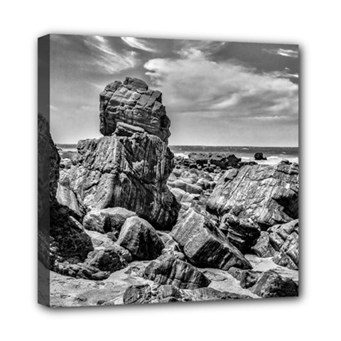 Rocks At Shore In Praia Malhada Jericoacoara Brazil Mini Canvas 8  X 8  by dflcprints