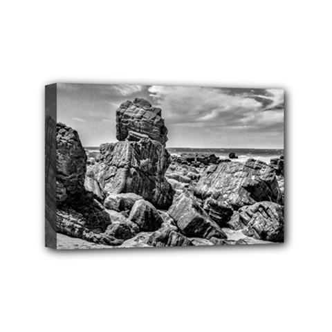 Rocks At Shore In Praia Malhada Jericoacoara Brazil Mini Canvas 6  X 4  by dflcprints