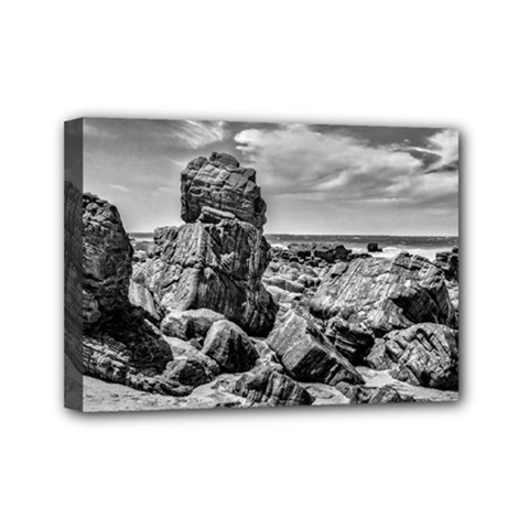 Rocks At Shore In Praia Malhada Jericoacoara Brazil Mini Canvas 7  X 5  by dflcprints
