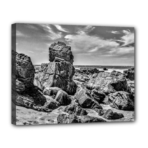 Rocks At Shore In Praia Malhada Jericoacoara Brazil Canvas 14  X 11  by dflcprints