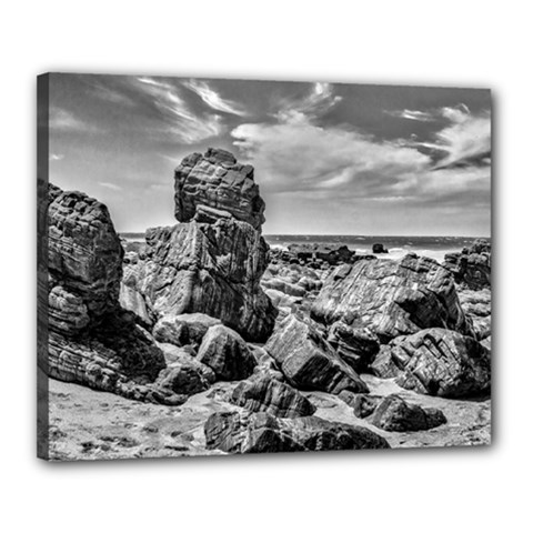 Rocks At Shore In Praia Malhada Jericoacoara Brazil Canvas 20  X 16  by dflcprints