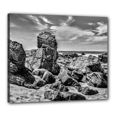 Rocks At Shore In Praia Malhada Jericoacoara Brazil Canvas 24  X 20  by dflcprints