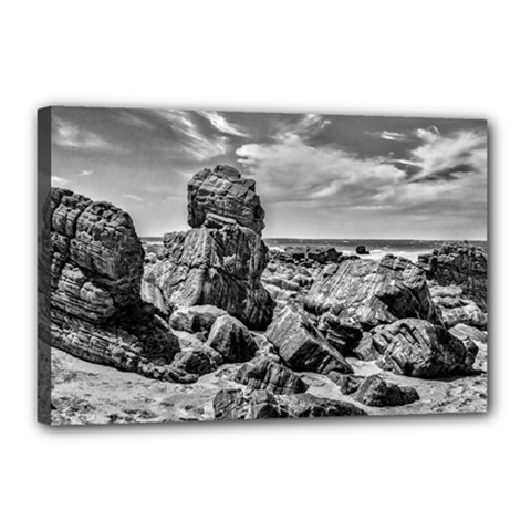 Rocks At Shore In Praia Malhada Jericoacoara Brazil Canvas 18  X 12  by dflcprints
