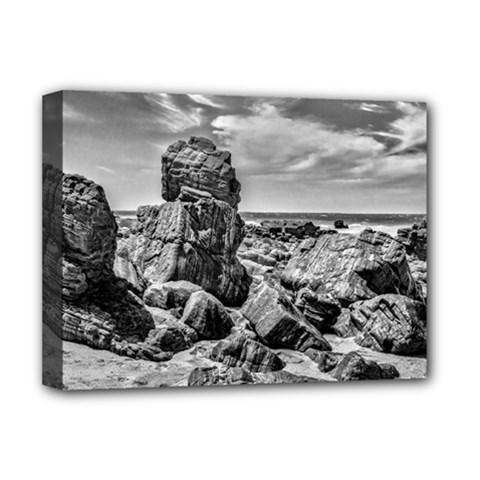 Rocks At Shore In Praia Malhada Jericoacoara Brazil Deluxe Canvas 16  X 12   by dflcprints