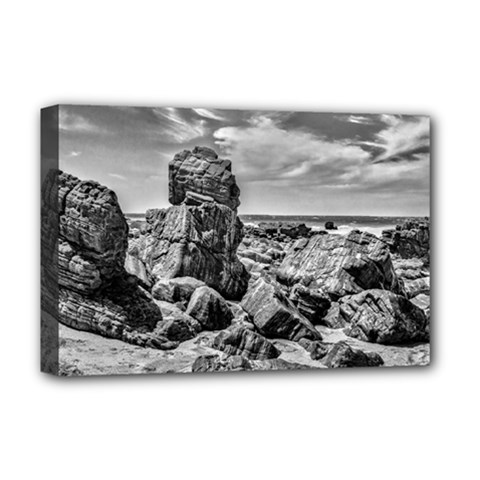 Rocks At Shore In Praia Malhada Jericoacoara Brazil Deluxe Canvas 18  X 12   by dflcprints