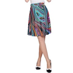 Brilliant Abstract In Blue, Orange, Purple, And Lime Green  A Line Skirt by theunrulyartist