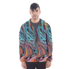 Brilliant Abstract In Blue, Orange, Purple, And Lime Green  Hooded Wind Breaker (men) by theunrulyartist