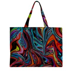 Brilliant Abstract In Blue, Orange, Purple, And Lime Green  Zipper Mini Tote Bag by theunrulyartist
