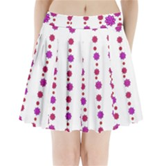 Vertical Stripes Floral Pattern Collage Pleated Mini Skirt by dflcprintsclothing