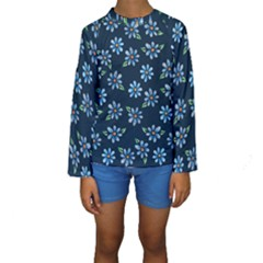 Retro Blue Daisy Flowers Pattern Kids  Long Sleeve Swimwear