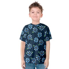 Retro Blue Daisy Flowers Pattern Kids  Cotton Tee